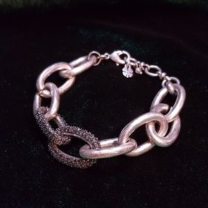 Silver and Rhinestone Chain Link Bracelet